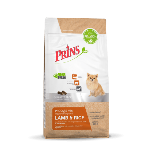 Prins ProCare Mini Lamb & Rice Hypoallergic sausas maistas suaugusiems mažų veislių šunims turintiems jautrią odą ir kailį, 3kg