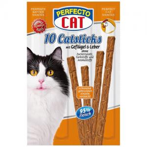 Skanėstai – lazdelės katėms su paukštiena ir kepenėlėmis, 10vnt., 50g, Perfecto Cat