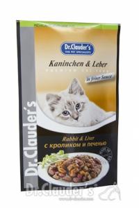 Drėgnas maistas katėms su triušiena ir kepenimis padaže, DR. CLAUDER'S, 100g