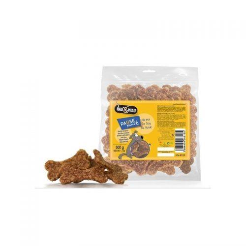 Skanėstas šunims Hau&Miau mėsos kauliukai su antiena ir ryžiais, 500g